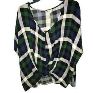 Front knot plus size blue & Green plaid top in 1XL